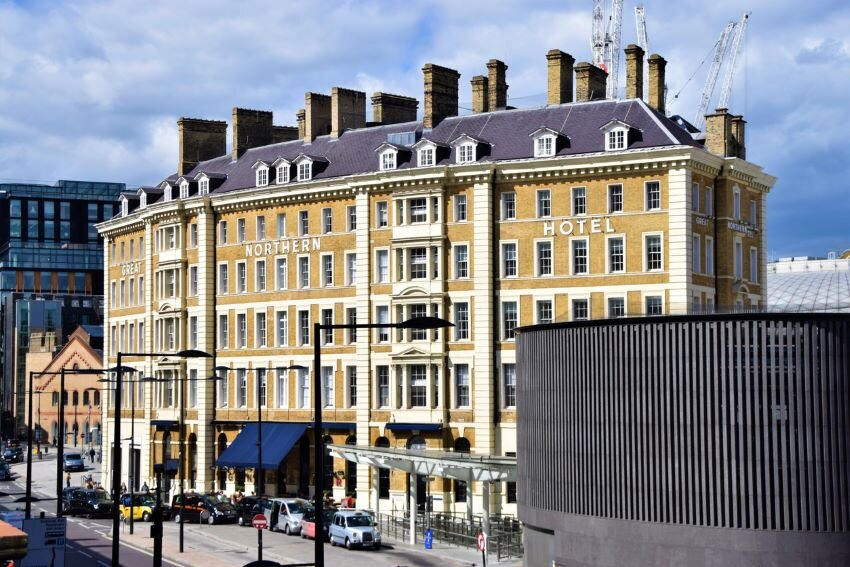 Great Northern Hotel at King's Cross St Pancras exterior view.