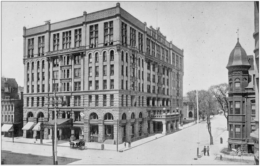 Antique black and white photo of Milwaukee, Wisconsin: Hotel Pfister.