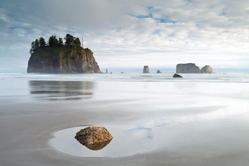 The beautiful Second Beach on the olympic National Park Coastline, La Push, W.A, USA.