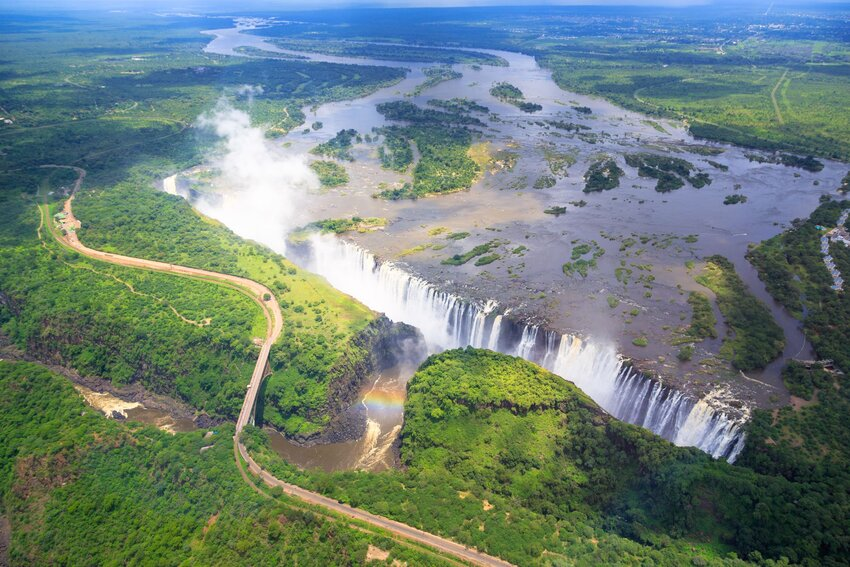Aerial overview showing massive scale of Victoria Falls