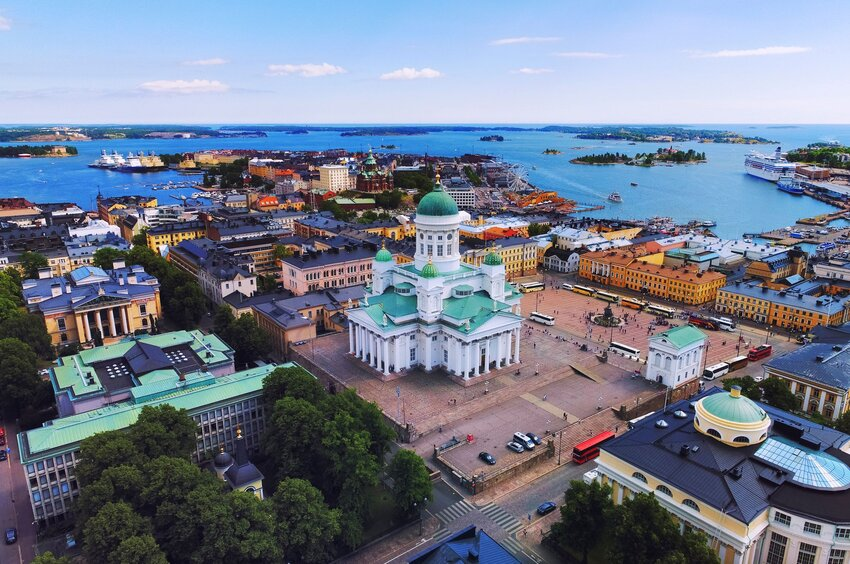 Aerial view of Helsinki, Finland with