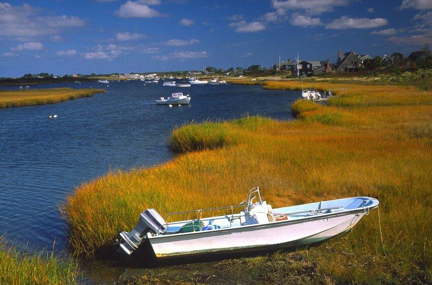 Boat parked in grassy reeds along Nantucket shoreline