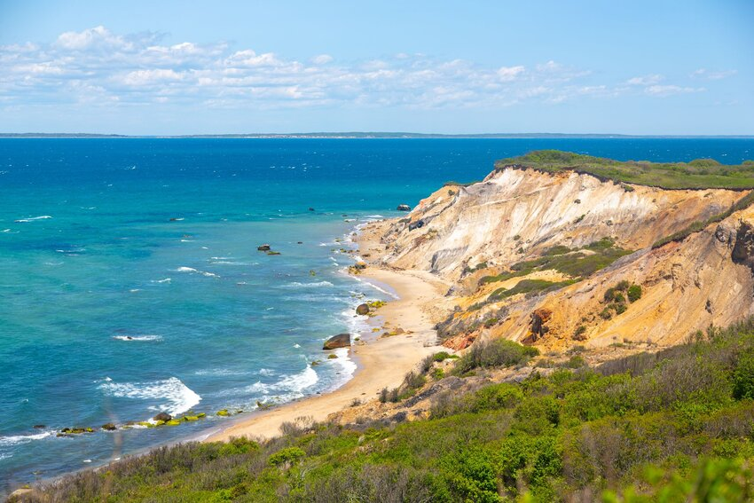 Overview of Aquinnah Cliffs in Martha's Vineyard