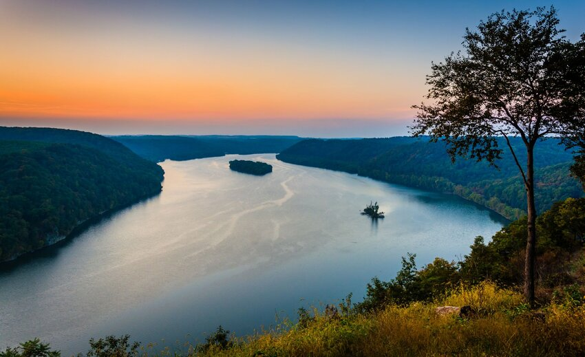Looking down at the Susquehanna River at sunset from the Pinnacle Overlook