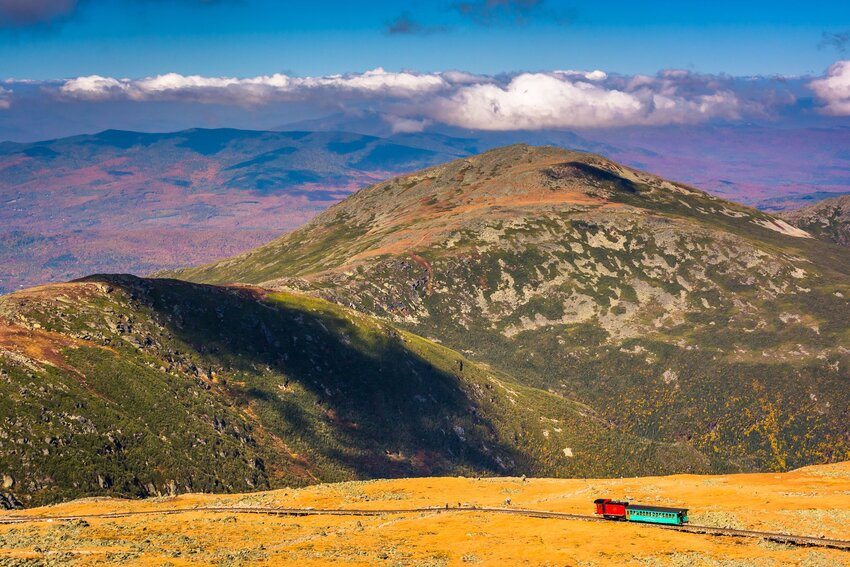 View of the Cog Railway from summit of Mount Washington