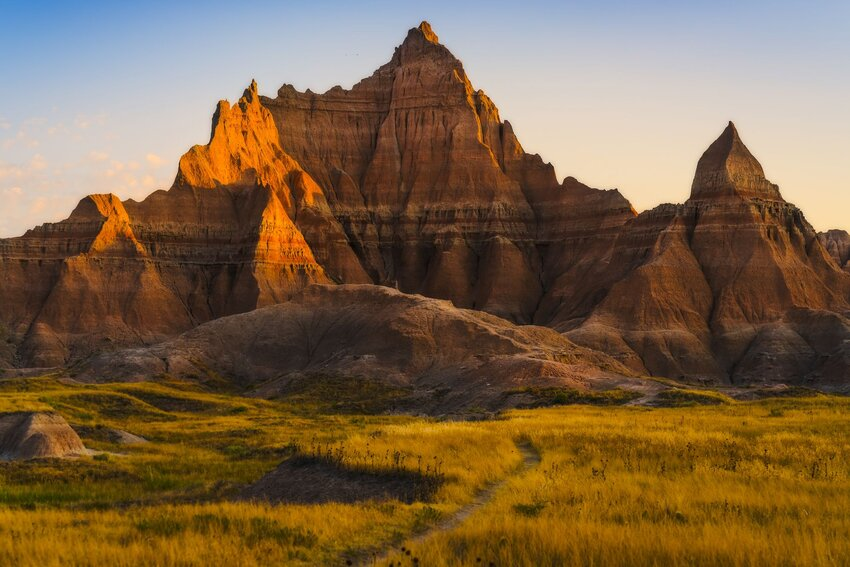Stunning multi-layered rock formations of Badlands National Park