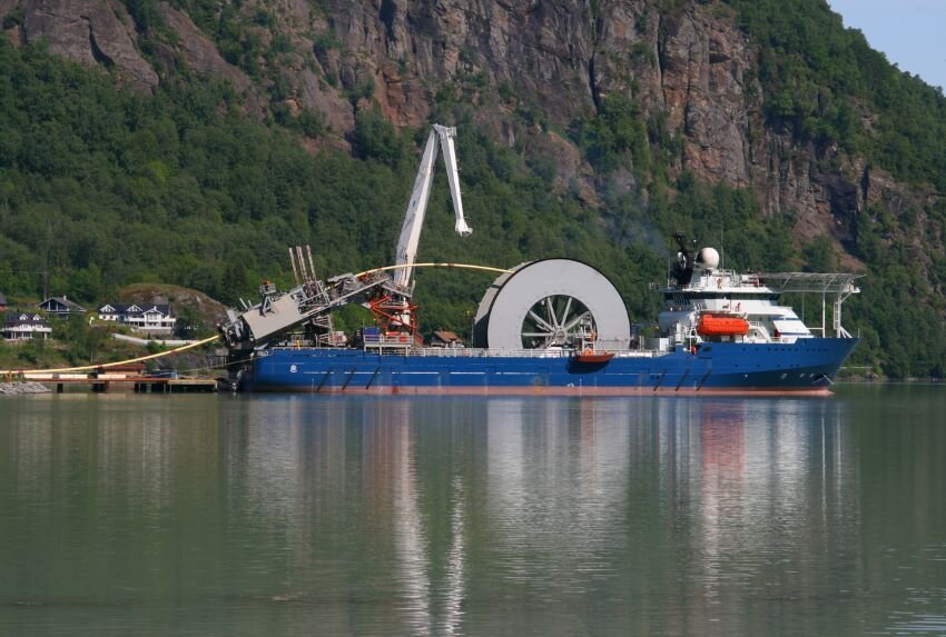 Cable ship in a harbor at the Sognefjord, Norway.