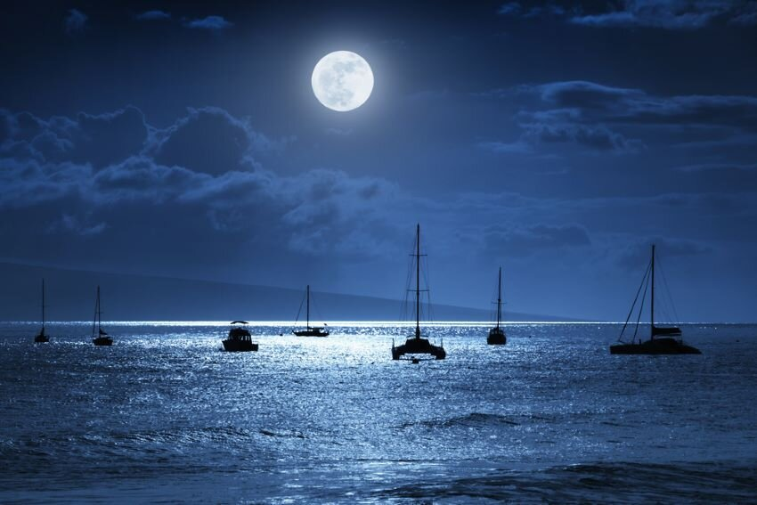 Full moon over the ocean in the night sky.
