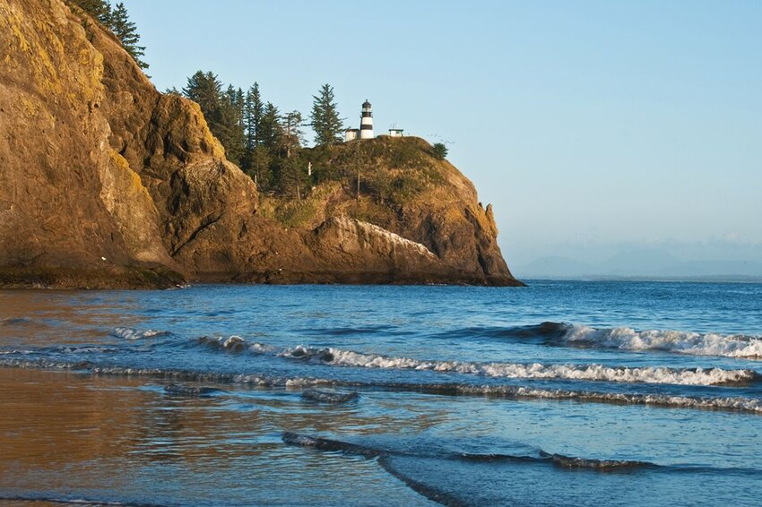 Cape Disappointment Lighthouse at Ilwaco Washington State on Long Beach Peninsula.