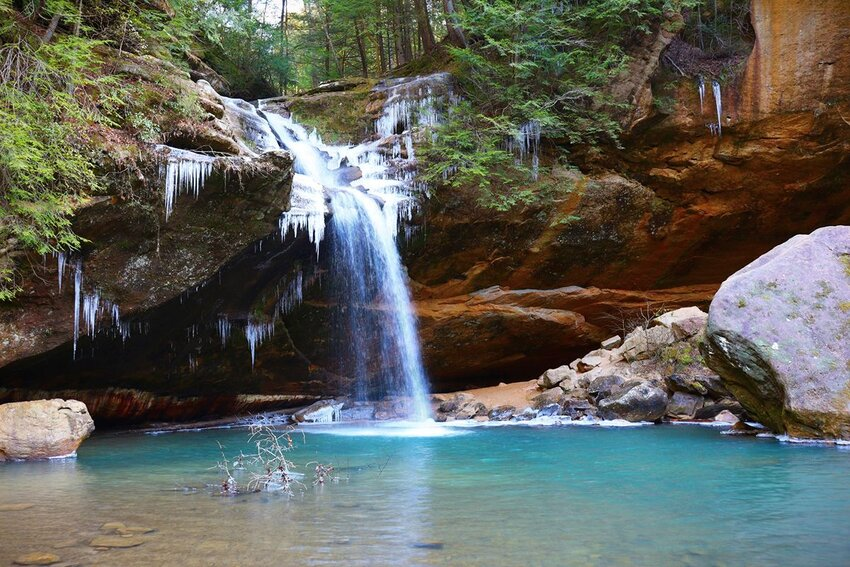 The waterfall at Hocking Hills State Park in Ohio.