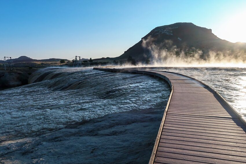 Landscape of wooden path through hot springs at Hot Springs State park in Thermopolis, Wyoming.