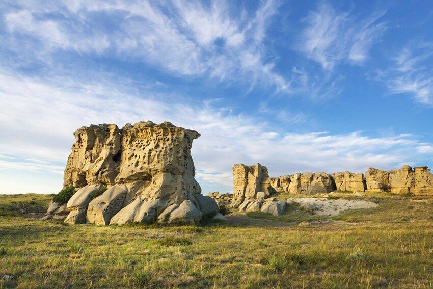 Sandstone pillars at Medicine Rock State Park in Montana.