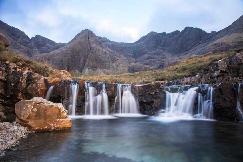 Fairy Pools Waterfall Skye Island in Scotland.