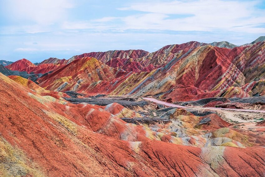 China's rainbow mountain in summer at Zhangye National Geopark.