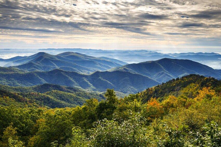 Blue Ridge Parkway National Park Sunrise Scenic Mountains Autumn Landscape near Asheville.